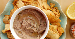 Black Bean Dip with Spiced Pita Chips