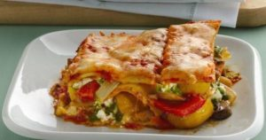 Vegetable Lasagna with Tomato and Cream Sauce