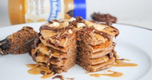 Chocolate Pancake with Peanut Butter Sauce Recipe in Urdu