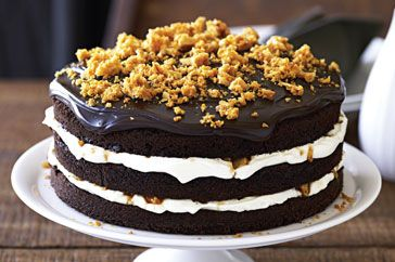 Coffee Fudge Cake with Caramel Crunch