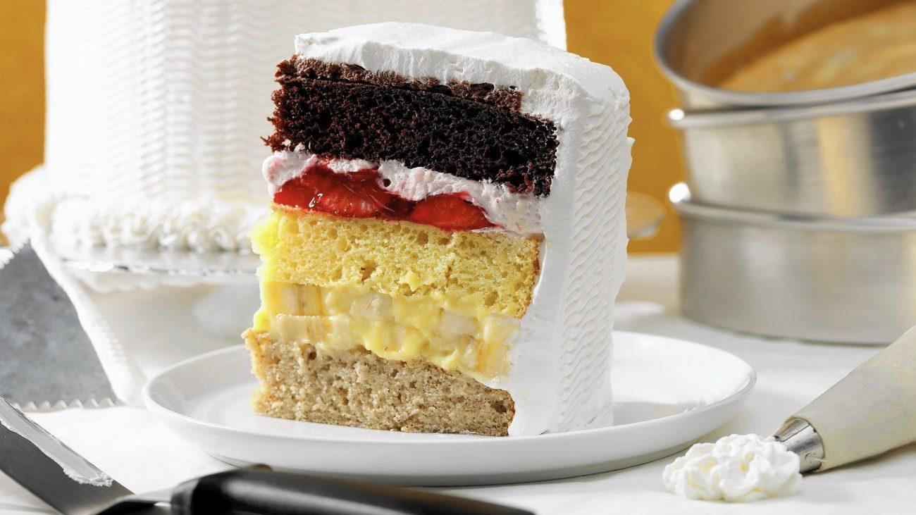 Three Layered Settled Custard Cake