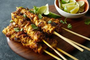 Chicken Satay with Peanut Sauce Recipe in Urdu