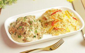 Creamy Mushroom Chicken With Vegetable Rice Recipe in Urdu