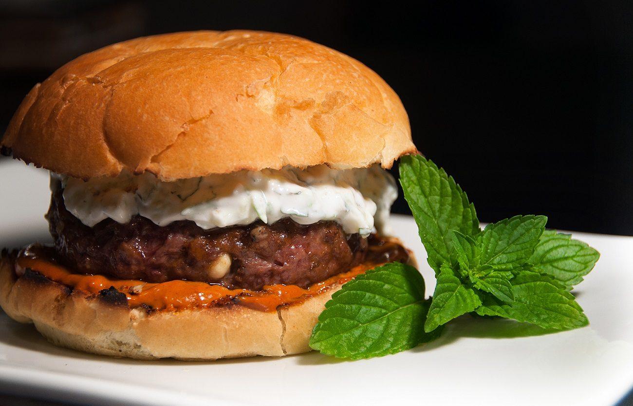 Lamb Burger with Mint Dip