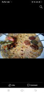 Basin ki roti with National achar gosht masala