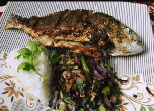 Masala Fried Fish with Stir Fry Vegetables And Boiled Rice