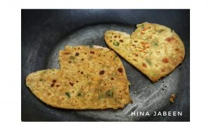 Heart shaped besan parathas