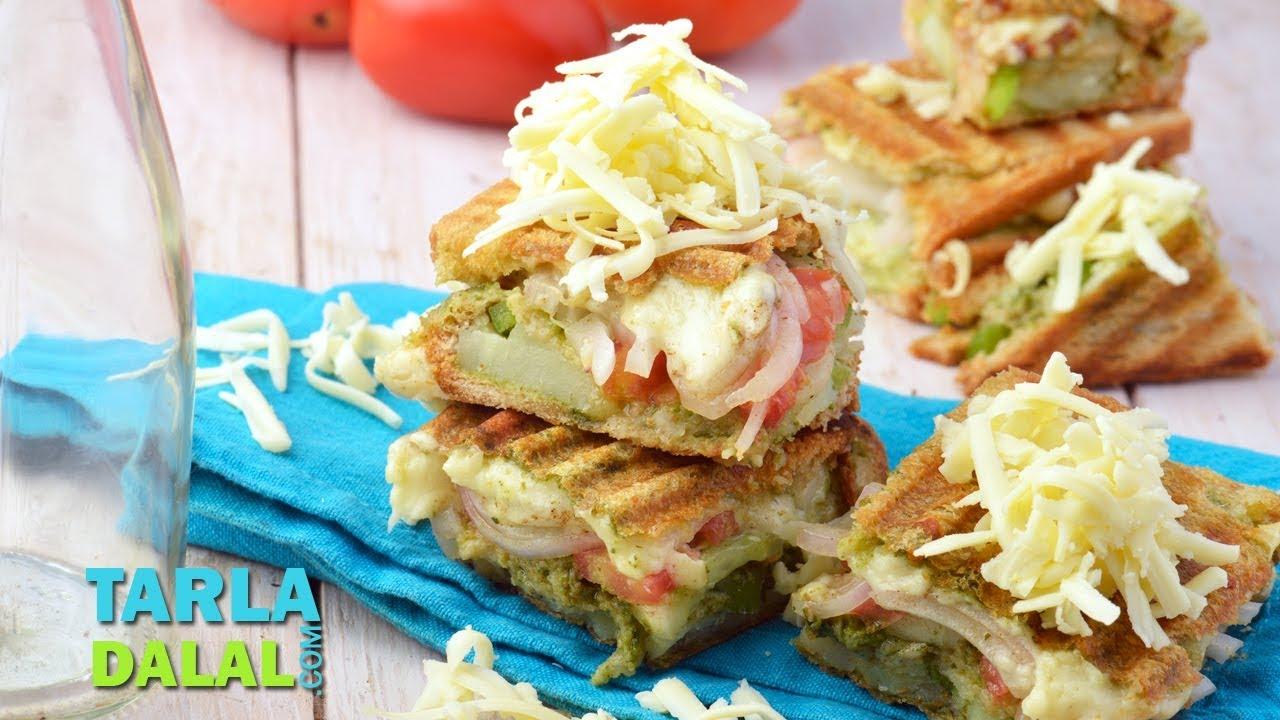 वेजिटेबल चीज़ ग्रिल्ड सैंडविच | Vegetable Cheese Grilled Sandwich by Tarla Dalal