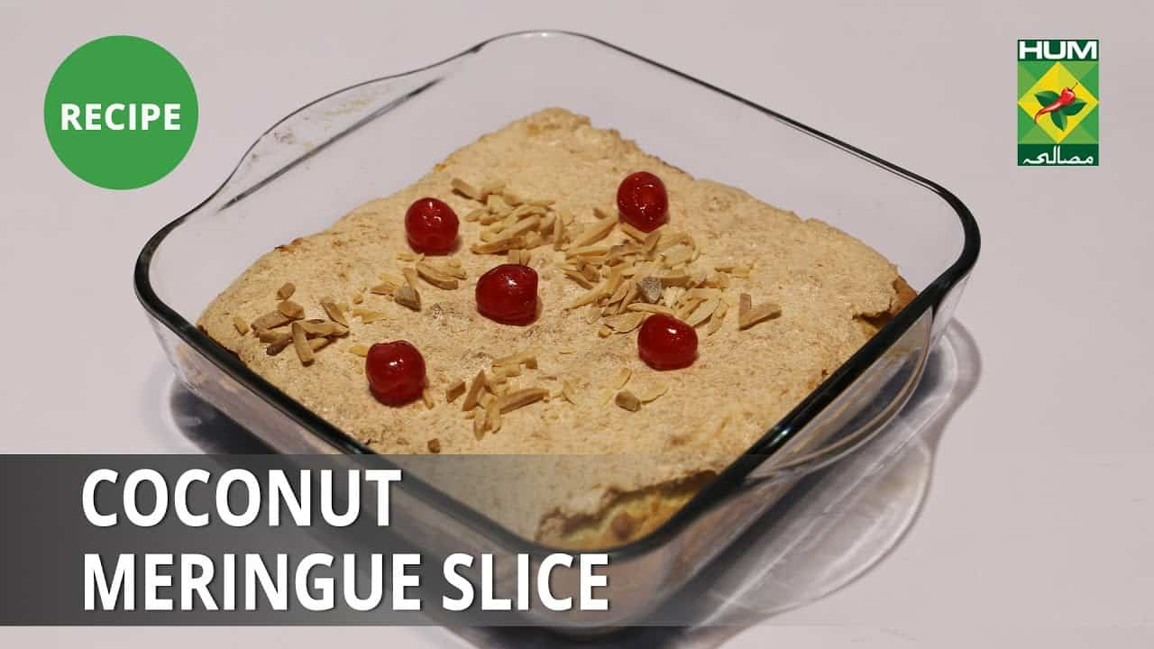 Coconut Meringue Slice Recipe   Food Diaries    Zarnak Sidhwa   Dessert
